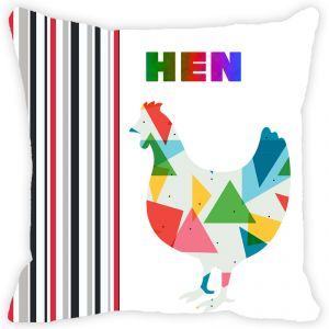 Fabulloso Leaf Designs Multicoloured Hen Cushion Cover - 18x18 Inches