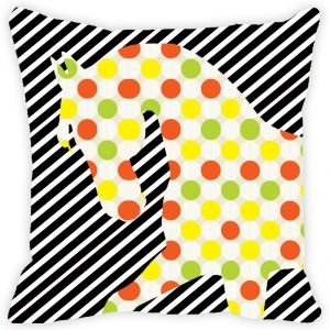 Fabulloso Leaf Designs Black And White Stripes Horse Cushion Cover - 12x12 Inches