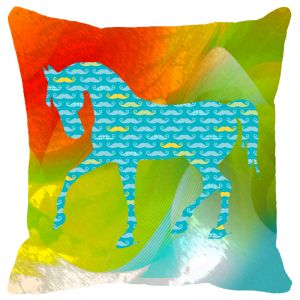 Fabulloso Leaf Designs Blue Horse Cushion Cover - 18x18 Inches