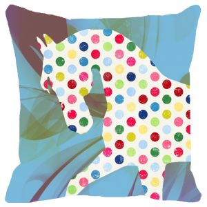 Fabulloso Leaf Designs Multicoloured Dotted Horse Cushion Cover - 12x12 Inches