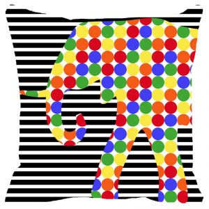 Fabulloso Leaf Designs Black And White Stripes Elephant Cushion Cover - 18x18 Inches