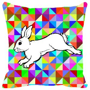 Fabulloso Leaf Designs White Rabbit Cushion Cover - 8x8 Inches