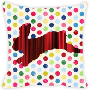 Fabulloso Leaf Designs Red And Black Stripes Rabbit Cushion Cover - 12x12 Inches