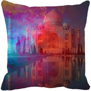 Fabulloso Leaf Designs Taj Mahal Multi Colored Cushion Cover - 8x8 Inches