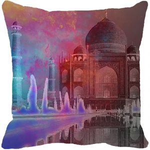Fabulloso Leaf Designs Taj Mahal Multi Colored Negative Cushion Cover - 8x8 Inches