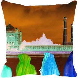 Fabulloso Leaf Designs Taj Mahal River View Negative Multi Colored Cushion Cover - 16x16 Inches