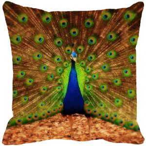 Fabulloso Leaf Designs Dancing Peacock Multi Colored Cushion Cover - 16x16 Inches