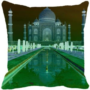 Fabulloso Leaf Designs Taj Mahal Green Cushion Cover - 18x18 Inches