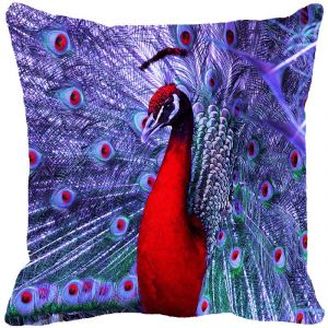 Fabulloso Leaf Designs Dancing Peacock Purple Cushion Cover - 16x16 Inches
