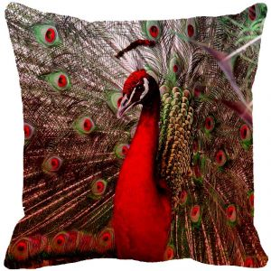 Fabulloso Leaf Designs Dancing Peacock Red Cushion Cover - 8x8 Inches