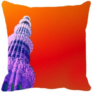 Fabulloso Leaf Designs Qutub Minar Orange Cushion Cover - 8x8 Inches