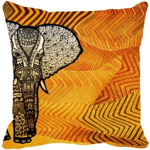 Fabulloso Leaf Designs Elephant Graphics Yellow Cushion Cover - 18x18 Inches