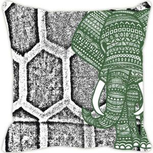 Fabulloso Leaf Designs Elephant Graphics Grey Cushion Cover - 18x18 Inches