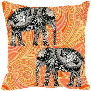Fabulloso Leaf Designs Elephant Graphics Orange Cushion Cover - 8x8 Inches