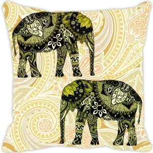 Fabulloso Leaf Designs Elephant Graphics Green Cushion Cover - 16x16 Inches