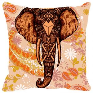 Fabulloso Leaf Designs Elephant Head Orange Cushion Cover - 16x16 Inches