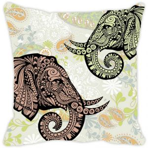 Fabulloso Leaf Designs Elephant Head Multi Colored Cushion Cover - 16x16 Inches