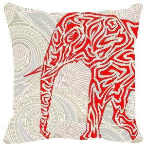 Fabulloso Leaf Designs Elephant Graphics Red Cushion Cover - 18x18 Inches