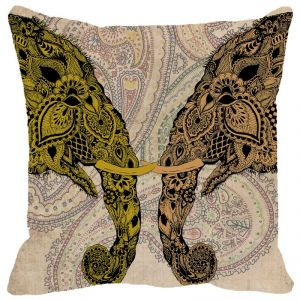 Fabulloso Leaf Designs Elephant Head Beige Cushion Cover - 16x16 Inches