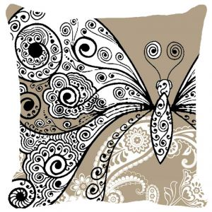 Fabulloso Leaf Designs Butterfly Beige Cushion Cover - 16x16 Inches