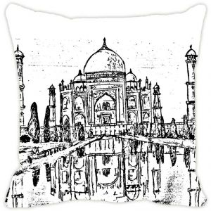 Fabulloso Leaf Designs Taj Mahal Sketch Cushion Cover - 18x18 Inches