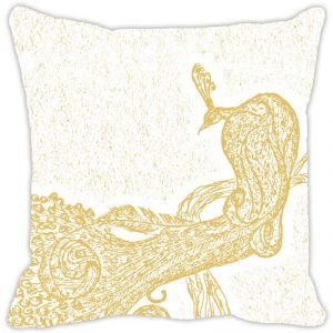 Fabulloso Leaf Designs Peacock Monochrome Beige Cushion Cover - 12x12 Inches