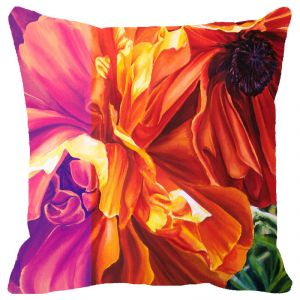 Fabulloso Leaf Designs Multicoloured Hues Floral Cushion Cover (a) - 16x16 Inches