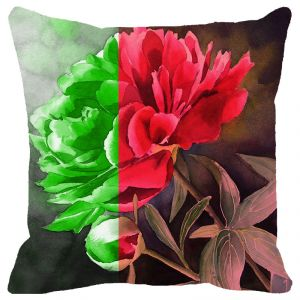 Fabulloso Leaf Designs Dual Tone Floral Cushion Cover - 18x18 Inches