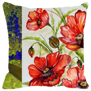 Fabulloso Leaf Designs Dual Red & Blue Floral Cushion Cover - 12x12 Inches