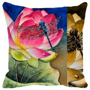 Fabulloso Leaf Designs Multicoloured Dragonfly Cushion Cover - 16x16 Inches