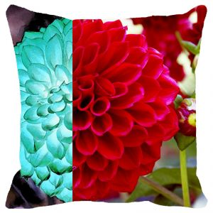 Fabulloso Leaf Designs Red & Light Blue Floral Cushion Cover - 16x16 Inches