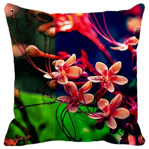 Fabulloso Leaf Designs Multicoloured Frangipani Cushion Cover - 16x16 Inches