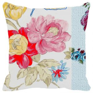 Fabulloso Leaf Designs Multicoloured Hues Floral Cushion Cover (b) - 8x8 Inches