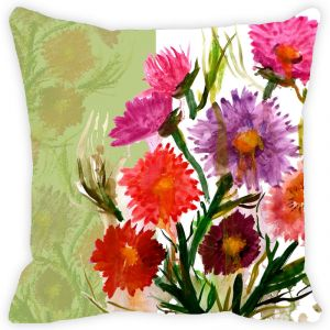Fabulloso Leaf Designs Multicoloured Daisy Cushion Cover - 16x16 Inches