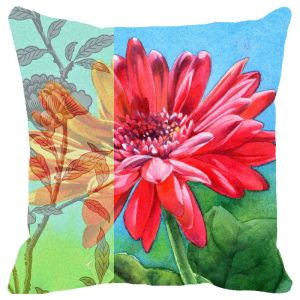 Fabulloso Leaf Designs Multicoloured Pink & Orange Floral Cushion Cover - 18x18 Inches