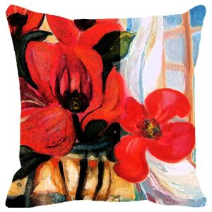 Fabulloso Leaf Designs Deep Red Floral Cushion Cover - 16x16 Inches