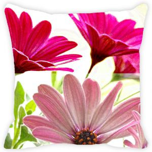 Fabulloso Leaf Designs Double Pink Cushion Cover - 16x16 Inches