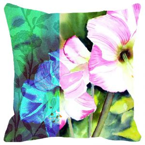 Fabulloso Leaf Designs Pink & Blue Flowers Cushion Cover - 16x16 Inches