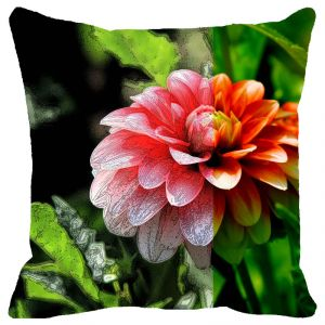 Fabulloso Leaf Designs Red Dahlia Cushion Cover - 16x16 Inches