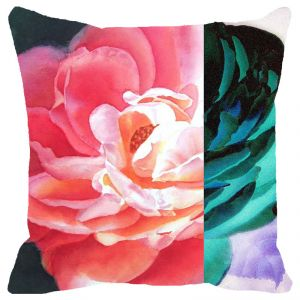 Fabulloso Leaf Designs Blue & Pink Rose Cushion Cover - 12x12 Inches