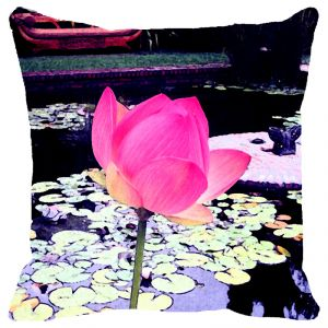 Fabulloso Leaf Designs Light Pink Lotus Cushion Cover - 16x16 Inches