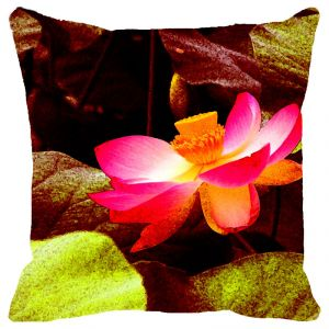 Fabulloso Leaf Designs Shaded Lotus Cushion Cover - 18x18 Inches