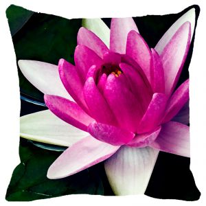 Fabulloso Leaf Designs Pink Shaded Lotus Cushion Cover - 16x16 Inches