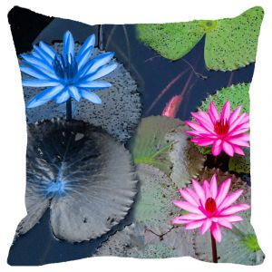 Fabulloso Leaf Designs Blue & Pink Lotus Cushion Cover - 16x16 Inches