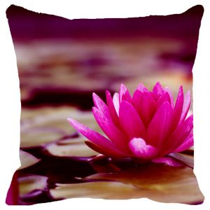 Fabulloso Leaf Designs Pink & Sepia Shaded Lotus Cushion Cover - 18x18 Inches