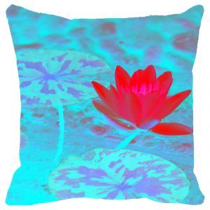Fabulloso Leaf Designs Pink & Light Blue Lotus Cushion Cover - 16x16 Inches