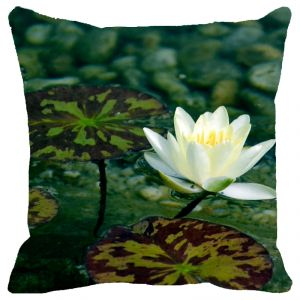 Fabulloso Leaf Designs White & Green Lotus Cushion Cover - 8x8 Inches