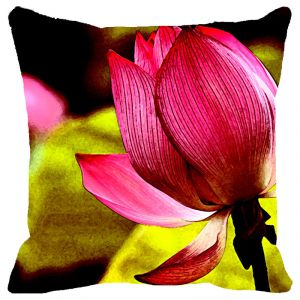 Fabulloso Leaf Designs Single Lotus Cushion Cover - 12x12 Inches