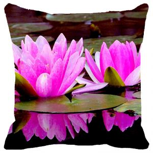Fabulloso Leaf Designs Pink Double Lotus Cushion Cover - 18x18 Inches