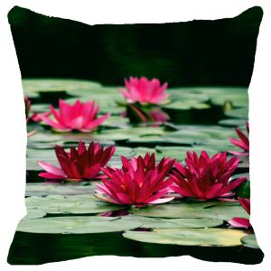Fabulloso Leaf Designs Green & Red Lotus Cushion Cover - 16x16 Inches